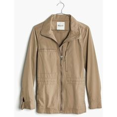 MADEWELL Fleet Jacket ($118) ❤ liked on Polyvore featuring outerwear, jackets, light latte, brown cotton jacket, brown military jacket, military style jacket, military jacket and cotton military jacket