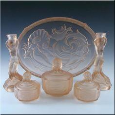 Walther & Sohne Art Deco Pink Glass 'Nymphen' Trinket Set - £299.99