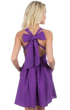 Purple - The Livingston Solid Seersucker Dress Back