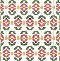 Items op Etsy die op Contemporary cross stitch pattern of retro flowers in a textile style, perfect for projects such as cushion covers. Cross Stitching, Cross Stitch Embroidery, Cross Stitch Patterns, Cross Stitch Bird, Fair Isle Knitting Patterns, Knitting Charts, Cross Stitch Kitchen, Modern Cross Stitch, Retro Flowers