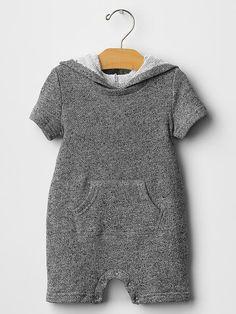 Marled hooded romper Product Image gap