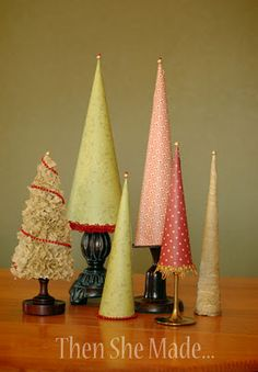 Christmas paper trees - This is a GREAT tutorial - this will help us the most for the party... We could probably use something basic like curling ribbon that the church already has to help make the bottom edges look clean