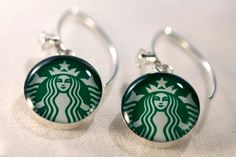 Starbucks siren logo earrings with sterling silver, resin and cubic zirconia. Made from recycled, upcycled  gift cards. by CoffeeCharms on Etsy https://www.etsy.com/listing/159494154/starbucks-siren-logo-earrings-with