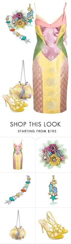 """""""Multicolor pastel outfits"""" by m-kints ❤ liked on Polyvore featuring Versace, Miriam Haskell, Tagliamonte, Chanel and multi"""