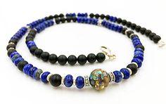 Onyx Lapis Necklace Lapis Lazuli Mala Abalone Mosaic Shell