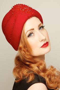 Salome - red swarovski beaded felt turban sold by www.glamoroushats.com photo by Joanna Koralewska, model Millicent Binks