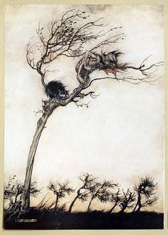"""Some say no evil thing that walks by night / In fog, or fire, by lake or moorish fen, / Blew leager hag or stubborn unlaid ghost / That breaks its magic chains at curfeu time; / No goblin, or swart faery of the mine, /   Hath hurtful power o'er true virginity.""  Arthur Rackham, from Comus, by John Milton, New York, London, 1921."