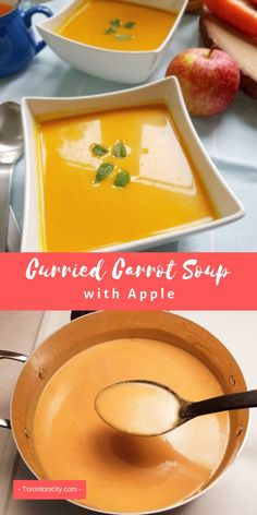 Soup recipes 337910778294625069 - Curried Carrot Soup with Apple is an easy soup to prepare. Best Soup Recipes, Carrot Recipes, Fall Recipes, Vegetarian Recipes, Cooking Recipes, Favorite Recipes, Vegan Soups, Curried Carrot Soup, Carrot Curry