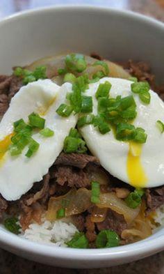 Gyudon – Japanese Beef Bowl #recipe Yummy Asian Food, Asian Foods, Beef Bowl Recipe, Gyudon, Asian Recipes, Ethnic Recipes, India Food, Beef Ribs, 500 Calories