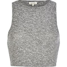$20.00 Grey marl rib fitted crop top