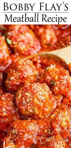 This Italian Meatball Recipe from Bobby Flay is easy to make ahead of time on the stove top and reheat in the Crock Pot and it makes a great freezer meal! This Italian Meatball Recipe from Bobby Flay. Beef Dishes, Pasta Dishes, Food Dishes, Main Dishes, Meat Recipes, Cooking Recipes, Healthy Recipes, Meatball Recipes, Recipies