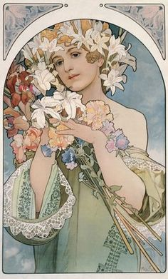 "Mucha, Alphonse Marie -- ""Flower, 1897 "" -- High quality art prints, canvases, postcards -- Mucha Foundation Prints"