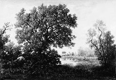 The pond - Theodore Rousseau Theodore Rousseau, Barbizon School, Art Database, Artist Painting, Pond, Country Roads, Clouds, Landscape, Outdoor