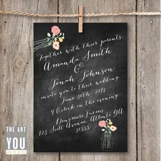 Printable Wedding Invitation Rustic Chalkboard by TheArtOfBeingYou, $70.00