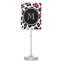 Shop Hot Pink Black Leopard Animal Print with Monogram Table Lamp created by GraphicsByMimi. Personalize it with photos & text or purchase as is!