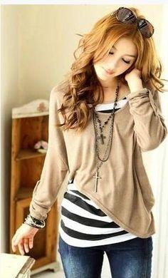 Brown Long Sleeves Asymmetric Cotton Blouse  1