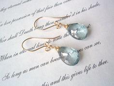 Capri blue earrings GEMSTONE AAA Mystic Blue Quartz by idooidoo, $18.00