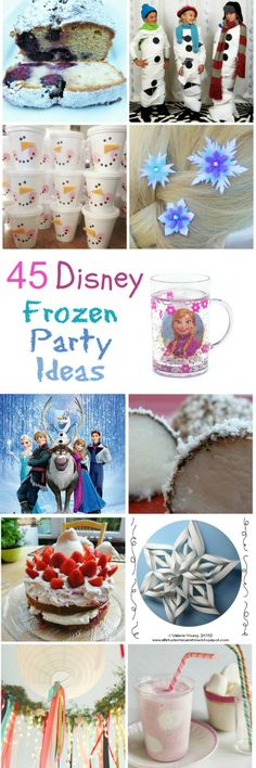 45 fun ideas for a Disney Frozen Party. I like the pom pom balls and build a snowman!!