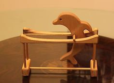 Handcrafted-Carved-Wooden-Dolphin-Porpoise-Flipping-Flipper-Desk-Accessory-Toy
