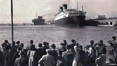 The Queen Mary and Queen Elizabeth in Southampton shortly after World War Two