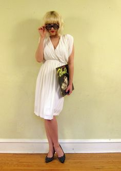 Vintage 1970s Halston White Wrap Dress in Draped by BasyaBerkman, $275.00