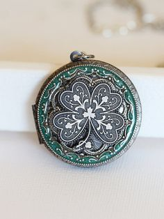 Irish Shamrock Green Resin Silver Locket,Locket,Four Leaf Clover Locket,Antique Locket,Luck,Irish,Wedding Necklace,bridesmaid necklace on Etsy, $36.99