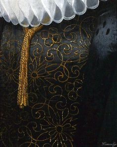 Jan van Ravesteyn, Portrait of a Lady in a White Lace Ruff and Cap #Art #Detail 1613