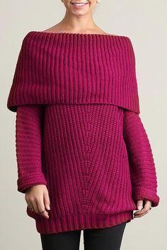 Fold over ribbed sweater  Fold over ribbed sweater Fold Over Sweater by Umgee USA. Clothing - Sweaters Nebraska
