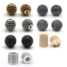 Cheap beads spacers beads, Buy Quality round beads directly from China beads for jewelry making Suppliers: Gold Plated CZ Brass Metal Micro Pave Cubic Zirconia Ball Round Bead Spacer Beads For Jewelry Making Supplies Accessories