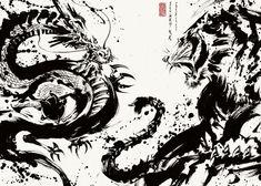 Ninja Kunst, Arte Ninja, Ninja Art, Japanese Tiger, Japanese Dragon, Samurai Tattoo, Samurai Art, Dragon Tiger Tattoo, Tiger Art