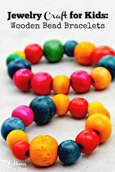 These wooden bead stretch bracelets are fun, easy to make, and help develop fine motor skills. No prior experience is necessary. An older child can do it on their own with minimal guidance while a younger child will most likely need a little help.