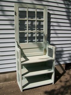 A door bench seat... with shelves... Great in a foyer to place shoes on lower shelves...