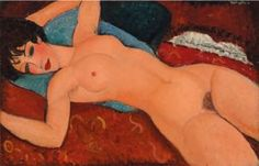 (1884-1920), 1917-8, Nu couché (Reclining Nude), Oil on canvas.
