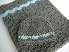 Baby Gift Set, Crochet Grey and Blue Hat and Crib Blanket Set, Baby Boy, Slate Grey and Sky Blue