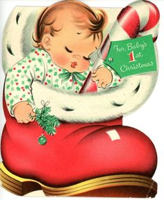 Vintage Norcross Baby's 1st Christmas Baby in Boot Glittery Candy Cane 997