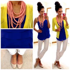 Royal blue blouse white skinny jeans yellow jacket i love yo Business Casual Outfits, Professional Outfits, Business Professional, Business Attire, Outfit Semi Formal, Hello Gorgeous Blog, Summer Outfits, Cute Outfits, Summer Clothes