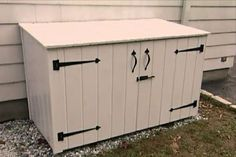 Learn how to construct an outside garbage enclosure that is attractive and animal-resistant.  <-- Going to make one that's smaller for our indoor garbage cans that are outside. :):