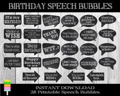 PRINTABLE Birthday Speech Bubbles–28 Pieces-DIY Birthday Photo Booth Props-Funny Birthday Props-Birthday Talk Bubbles-Instant Download