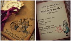 Alice in Wonderland invitations / bridal by ShabbyCountryChic