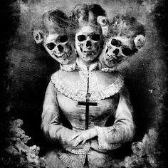 Horror art skull