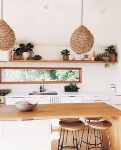 Modern Kitchen Interior bohemian kitchen // minimal kitchen design // bar stools - if you love beachy vibes endless rattan you'll love this Home Decor Kitchen, Rustic Kitchen, Home Kitchens, Kitchen Walls, Kitchen White, Bohemian Kitchen Decor, Country Kitchen, Kitchen Cabinets, Small Kitchens
