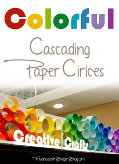 Colorful Cascading Paper Circles Library Display