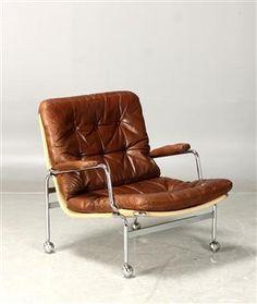 Lænestole - køb og salg af moderne, nyt, antikke og brugte - Bruno Mathsson, fåtölj 'Karin', Dux, skinn - SE, Stockholm, Slakthusgatan