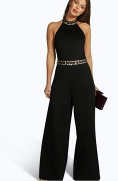 Black and Gold Jumpsuit Dressy Outfits, Cute Outfits, Girl Fashion, Fashion Dresses, Jumpsuit Outfit, Gold Jumpsuit, Mode Chic, Casual Chic, Evening Dresses