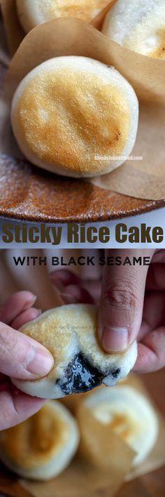 Sticky rice cake with black sesame filling