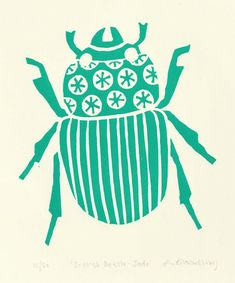 Scarab beetle lino print (jade green) by Ruth Broadway - Ruby and the Paper Parade.