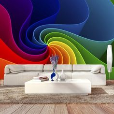 Colorful Pinwheel x Wallpaper East Urban Home 3d Wallpaper For Walls, Photo Wallpaper, Wall Decor Design, Home Decor Wall Art, 3d Wall Painting, Mediterranean Living Rooms, Custom Wall Murals, Geometric Wall, Mural Art
