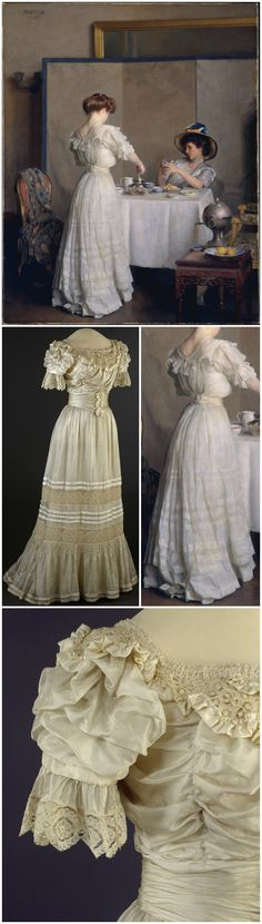 """Tea Leaves,"" by William McGregor Paxton (American), 1909, oil on canvas, at the Metropolitan Museum of Art. Dress, made by Steen & Strøm, Oslo, 1905-06. Machine-woven silk and cotton fabrics, plain weave, linen lace. Kunstindustrimuseet (Museum of Decorative Arts and Design, National Museum), Oslo, via DigitaltMuseum. CLICK THROUGH FOR LARGER IMAGES."