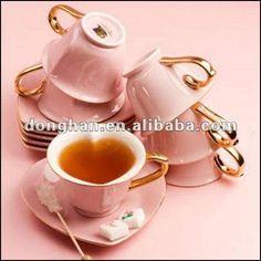 в форме сердца чашки кофе и блюдце с золотой наклейки handleanimal-изображение-Кубки и тарелки-ID продукта: 668275637-italian.alibaba.com