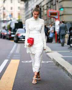 Outfit: My Milan Fashion Week Looks   FASHIIONCARPET. White turtleneck long top and midi skirt+ankle strap heeled sandals+red clutch. Fall Outfit 2016